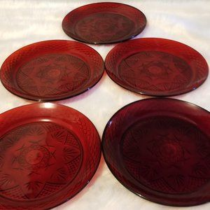 5 Cristal d'Arques Ruby Dinner Plate Made France